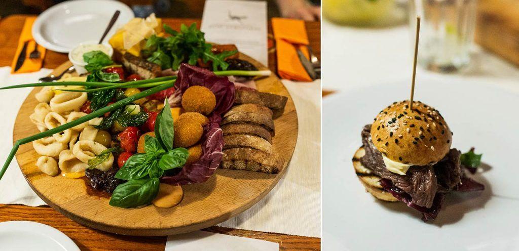 Restauracja Pod Strusiem, Wrocław. Zestaw przystawek, kangaroo burger